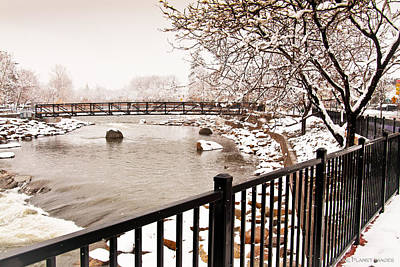 Poster featuring the photograph Snowing On The Truckee by Janis Knight