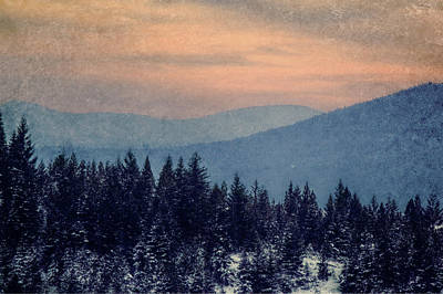 Snowing Sunset Poster by Melanie Lankford Photography