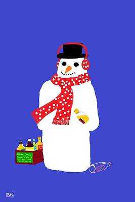 Poster featuring the digital art Snowman by Barbara Moignard