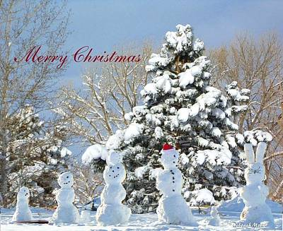 Snowman Family Greeting Card Poster