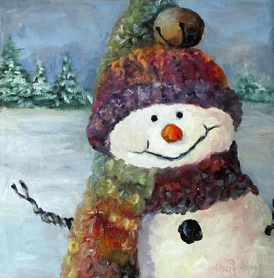 Poster featuring the painting Snowman I - Christmas Series I by Cheri Wollenberg