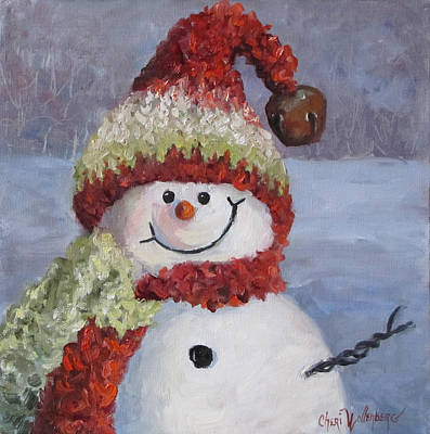 Poster featuring the painting Snowman II - Christmas Series by Cheri Wollenberg