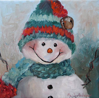 Poster featuring the painting Snowman IIi - Christmas Series by Cheri Wollenberg