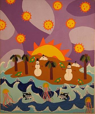 Poster featuring the painting Snowman Is An Island by Erika Chamberlin