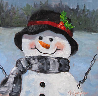 Poster featuring the painting Snowman Iv - Christmas Series by Cheri Wollenberg