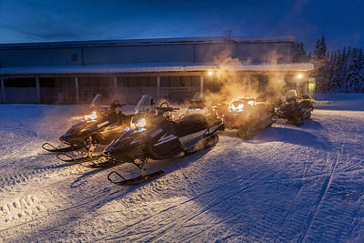 Snowmobiles In The Freezing Cold Poster