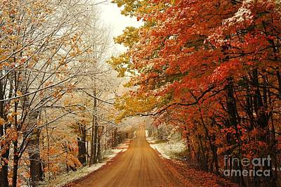 Snowy Autumn Road Poster