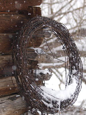 Snowy Barbed Wire Poster
