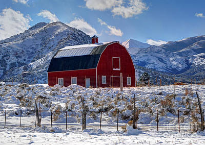 Snowy Barn In The Mountains - Utah Poster