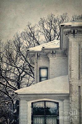 Snowy Brick House Poster by Jill Battaglia