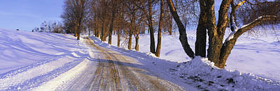 Snowy Country Road Poster by Panoramic Images