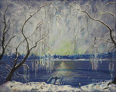 Snowy Day At The Lake Poster