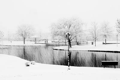 Snowy Day On Man Made Pond Poster