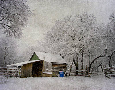 Snowy Day On The Farm Poster by David and Carol Kelly