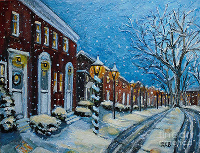 Poster featuring the painting Snowy Evening In Garden Crest by Rita Brown