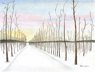 Poster featuring the drawing Snowy Lane by Arlene Crafton