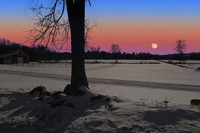 Poster featuring the photograph Snowy Moonrise by Larry Landolfi