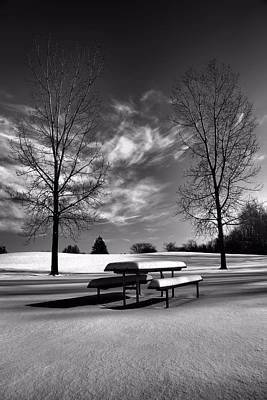 Snowy Morning In Black And White Poster by Dan Sproul