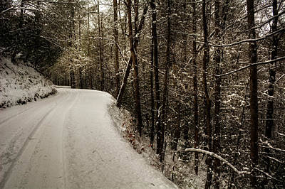 Snowy Mountain Road Poster by Chrystal Mimbs