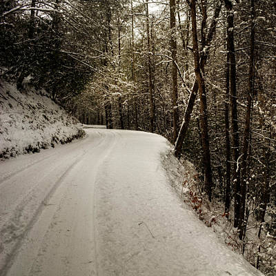 Snowy Mountain Road Square Poster by Chrystal Mimbs