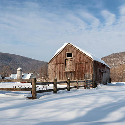 Snowy New England Barns Square Poster