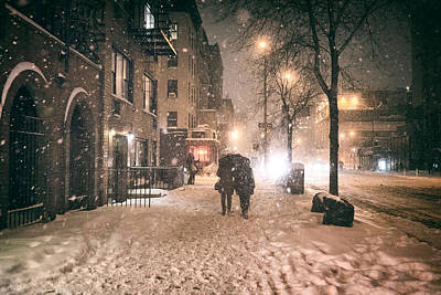 Snowy Night - Winter In New York City Poster by Vivienne Gucwa