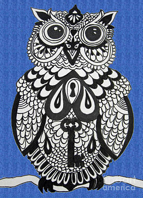 Snowy Owl Blue Poster