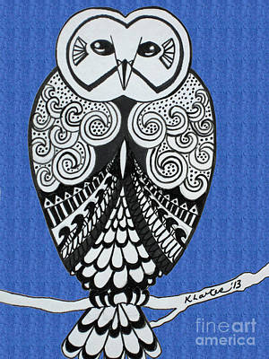 Snowy Owl Bright Blue Poster