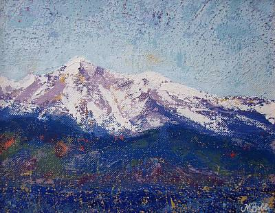Poster featuring the painting Snowy Peaks by Margaret Bobb