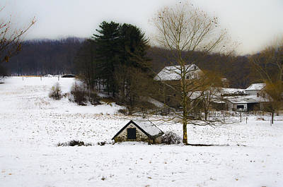 Snowy Pennsylvania Farm Poster