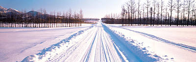 Snowy Road Hokkaido Shari-cho Japan Poster by Panoramic Images
