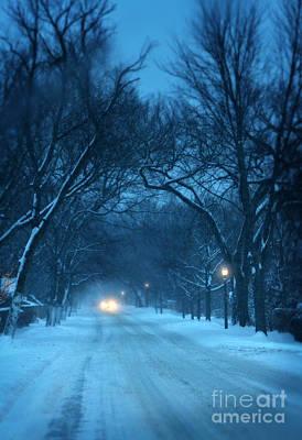 Snowy Road On A Winter Evening Poster by Jill Battaglia