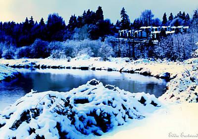 Snowy Sammamish River Bothell Washington Poster