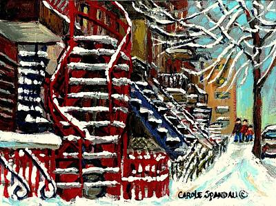 Snowy Steps The Red Staircase In Winter In Verdun Montreal Paintings City Scene Art Carole Spandau Poster by Carole Spandau