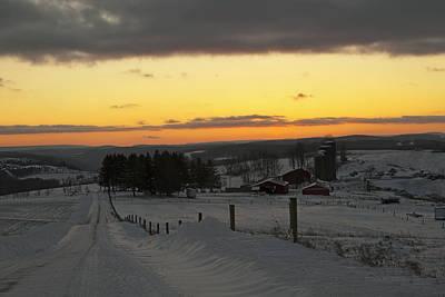 Snowy Pennsylvania Sunset Poster