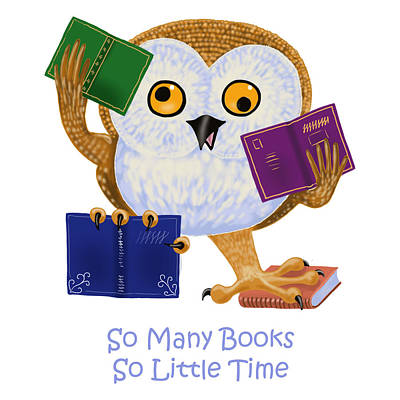Poster featuring the painting So Many Books So Little Time by Leena Pekkalainen