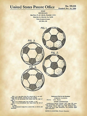 Soccer Ball Patent 1964 - Vintage Poster by Stephen Younts