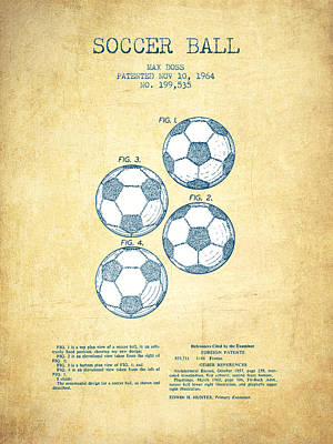 Soccer Ball Patent Drawing From 1964 - Vintage Paper Poster by Aged Pixel
