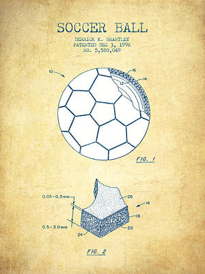 Soccer Ball Patent Drawing From 1996 - Vintage Paper Poster by Aged Pixel