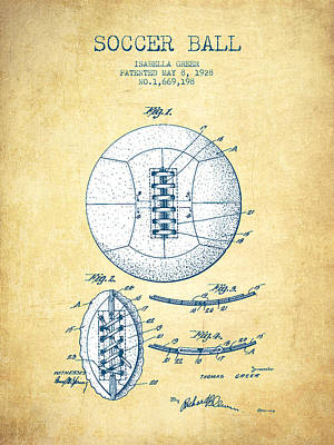 Soccer Ball Patent From 1928 - Vintage Paper Poster by Aged Pixel