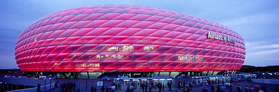 Soccer Stadium Lit Up At Dusk, Allianz Poster