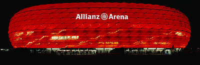 Soccer Stadium Lit Up At Night, Allianz Poster