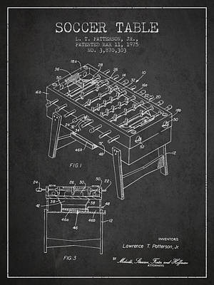 Soccer Table Game Patent From 1975 - Charcoal Poster by Aged Pixel