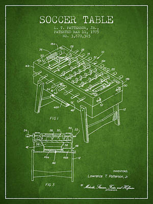 Soccer Table Game Patent From 1975 - Green Poster by Aged Pixel