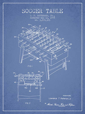Soccer Table Game Patent From 1975 - Light Blue Poster by Aged Pixel