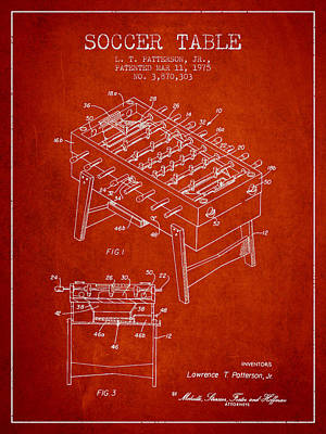 Soccer Table Game Patent From 1975 - Red Poster by Aged Pixel