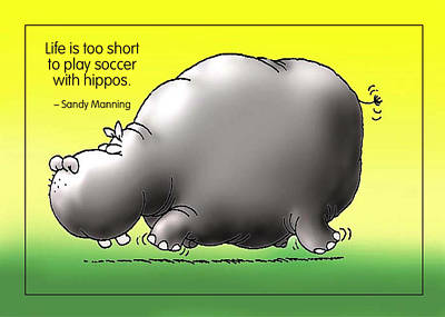 Soccer With Hippos Poster by Mike Flynn