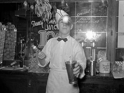 Soda Jerker Flipping Ice Cream Into Malted Milk Shakes Poster by Historic Photos