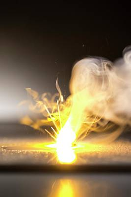 Sodium Burning In Water Poster by Science Photo Library