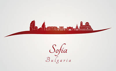 Sofia Skyline In Red Poster by Pablo Romero
